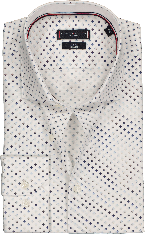 77fec52f773 Tommy Hilfiger stretch Classic Slim Fit overhemd, wit met blauw dessin