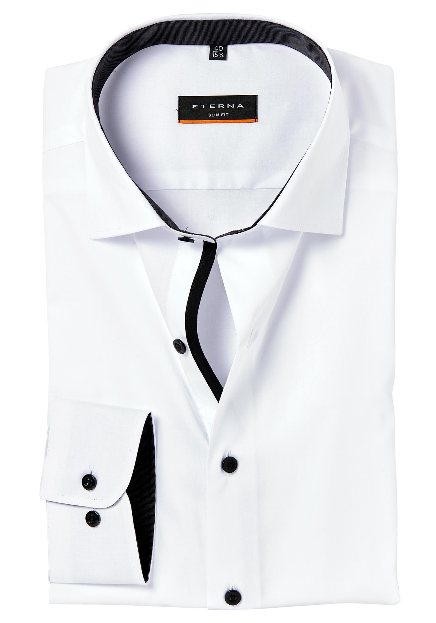 Overhemd Wit Slim Fit.Eterna Slim Fit Stretch Overhemd Wit Zwart Contrast Vakantiedeals
