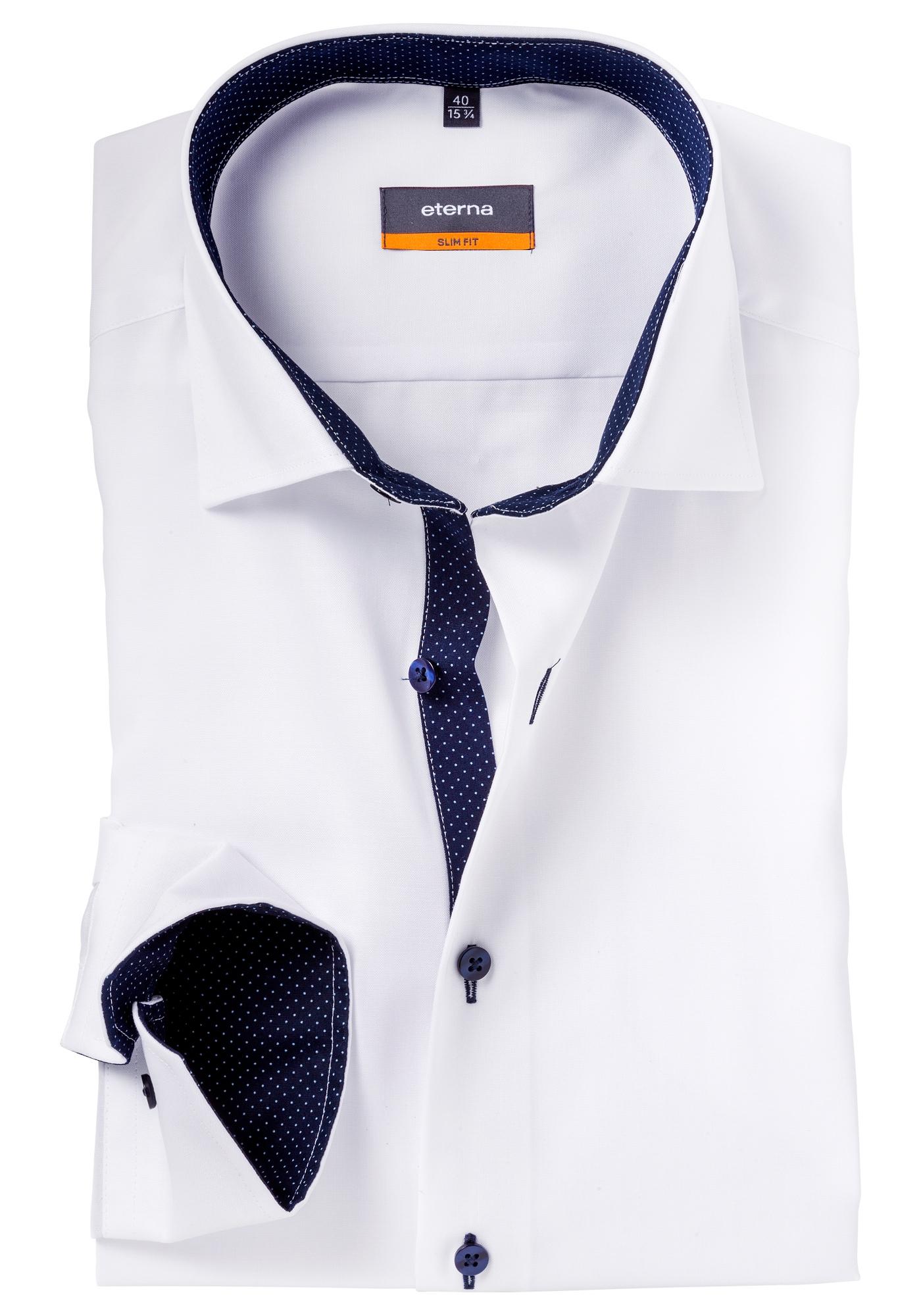 Overhemd Wit Slim Fit.Eterna Slim Fit Overhemd Wit Fijn Oxford Contrast Gratis Bezorgd