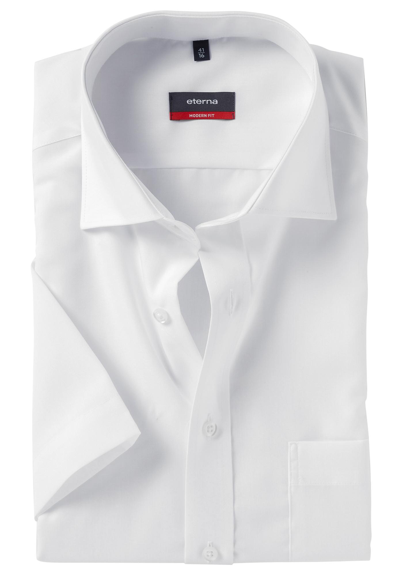 Wit Getailleerd Overhemd.Eterna Modern Fit Overhemd Korte Mouw Wit Gratis Bezorgd