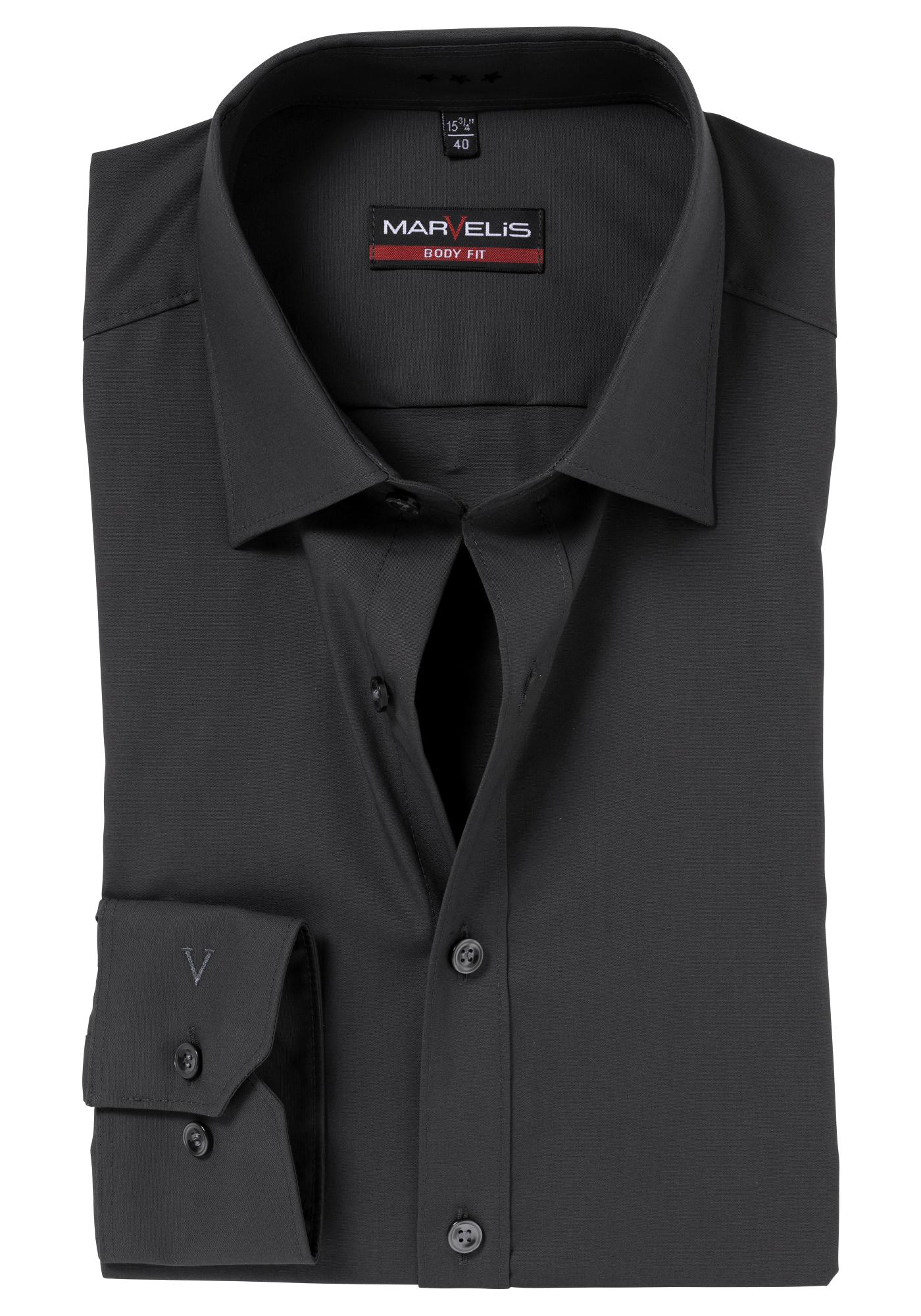 marvelis body fit overhemd donker antraciet gratis verzending. Black Bedroom Furniture Sets. Home Design Ideas
