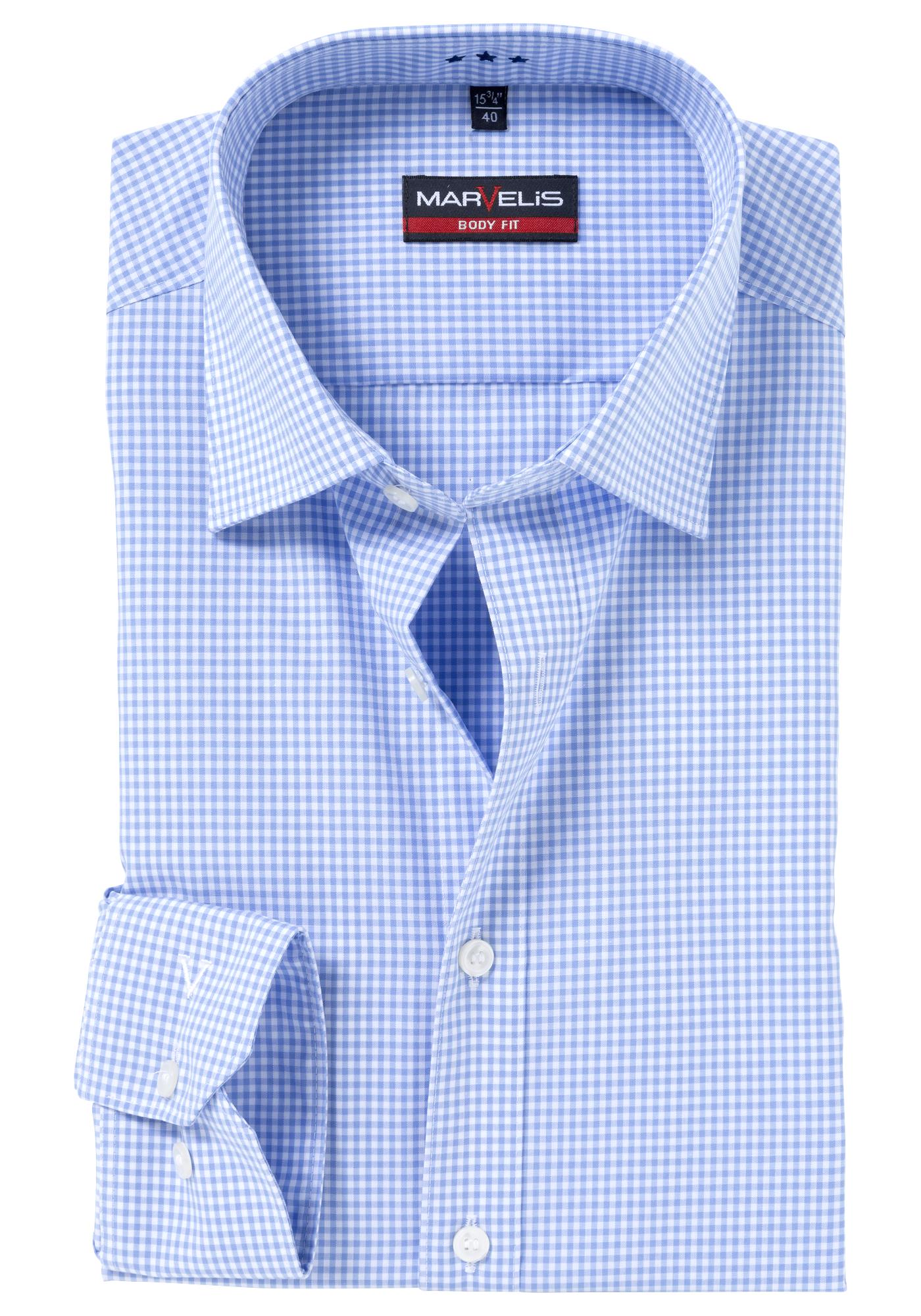 marvelis body fit overhemd blauw wit geruit gratis verzending. Black Bedroom Furniture Sets. Home Design Ideas