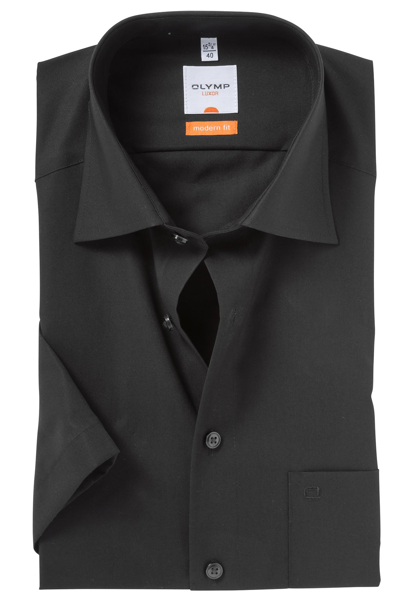 olymp modern fit overhemd korte mouw zwart gratis bezorgd. Black Bedroom Furniture Sets. Home Design Ideas