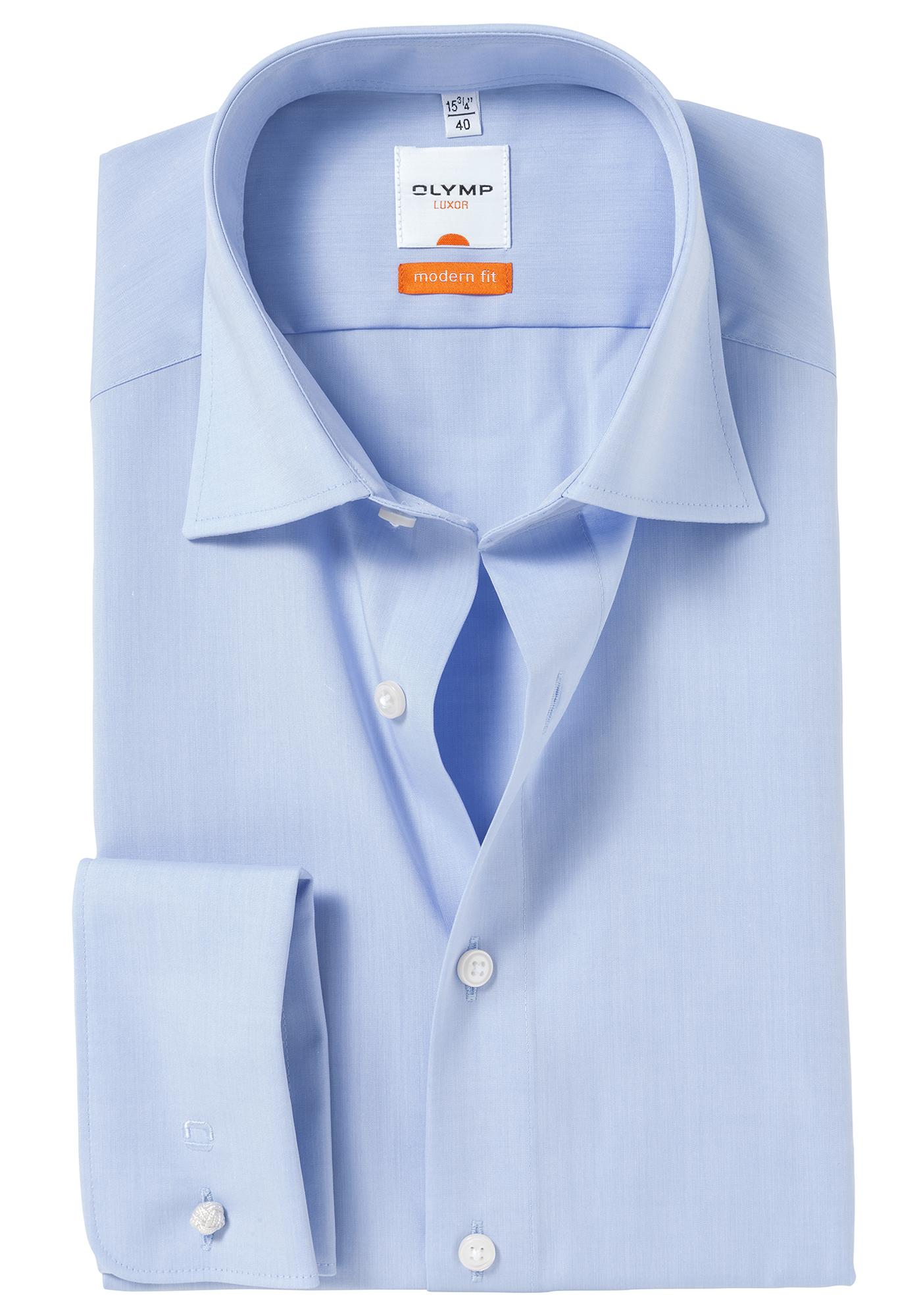 olymp modern fit overhemd dubbele manchet blauw gratis bezorgd. Black Bedroom Furniture Sets. Home Design Ideas