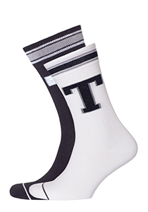 Tommy Hilfiger Patch Sock (2-pack), zwarte en witte sokken