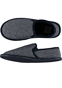 Pantoffels heren, blauwe slof tweed