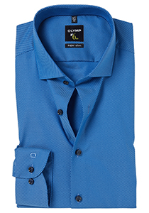 OLYMP No. 6 Six, Super Slim Fit overhemd, blauw diamant twill