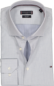 Tommy Hilfiger Dobby Classic Slim Fit overhemd, grijs ingeweven mini dessin