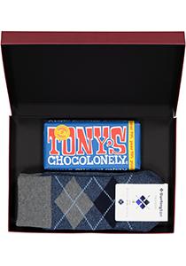 Hot Chocolade heren cadeauset Burlington Huissokken met pure chocolade, blauw geruit