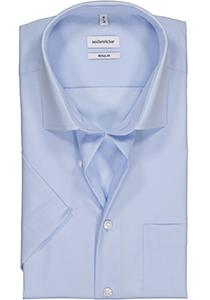 Seidensticker Regular Fit overhemd korte mouw, lichtblauw
