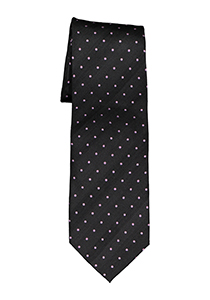 Eterna  stropdas, zwart met roze stip