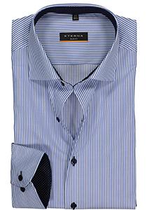 Eterna Slim Fit overhemd, blauw twill gestreept (contrast)