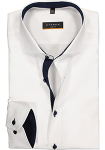 Eterna Slim Fit overhemd, wit (fijn Oxford / contrast)