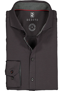 Desoto Slim Fit tricot overhemd, antraciet stretch