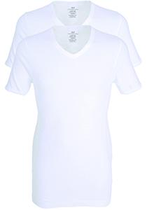 Gotzburg heren T-shirts Slim Fit V-hals (2-pack) fine rib, wit