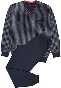 Gotzburg heren pyjama, blauw met rood en wit dessin