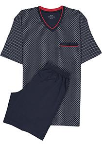 Gotzburg heren shortama, blauw met rood en wit dessin