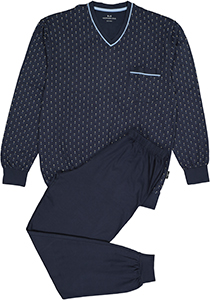 Gotzburg heren pyjama, blauw met lichtblauw en wit dessin