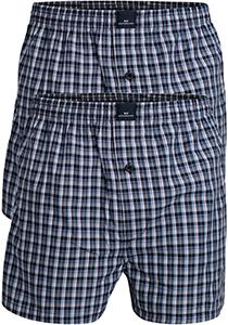 Gotzburg heren boxershort katoen wijd model 2-pack, blauw geruit