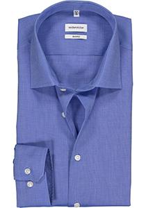 Seidensticker Shaped Fit overhemd, blauw fil à fil