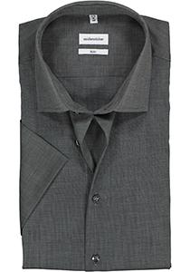 Seidensticker Slim Fit overhemd korte mouw, grijs fil a fil