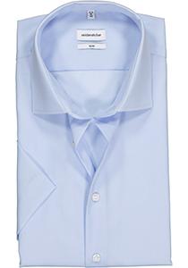 Seidensticker Slim Fit overhemd korte mouw, lichtblauw Fil à Fil