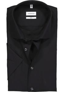 Seidensticker Slim Fit overhemd korte mouw, zwart