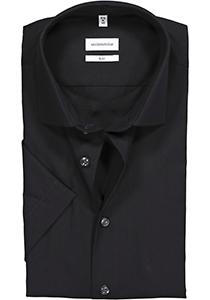 Seidensticker Slim Fit overhemd korte mouw, zwart Fil à Fil