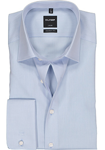 OLYMP Modern Fit overhemd dubbele manchet, blauw