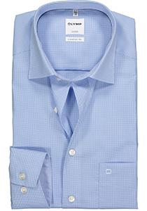 OLYMP Comfort Fit overhemd, licht blauw geruit (contrast)