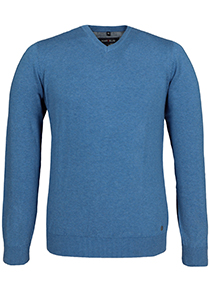 MARVELIS heren trui katoen, V-hals, licht blauw