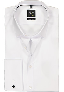 OLYMP No. 6 Six, Super Slim Fit overhemd, wit dubbele manchet