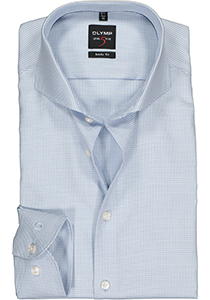 OLYMP Level 5 Body Fit overhemd, lichtblauw dessin diamant twill