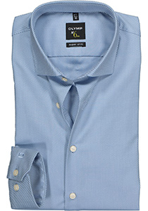 OLYMP No. 6 Six, Super Slim Fit overhemd, lichtblauw diamant twill