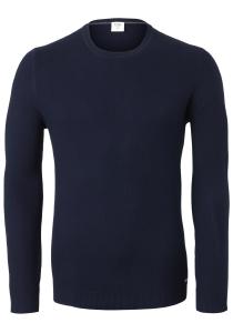 OLYMP Level 5 heren trui katoen, O-hals, navy blauw structuur (Slim Fit)