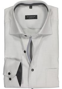 ETERNA Comfort Fit overhemd, grijs twill structuur (contrast)