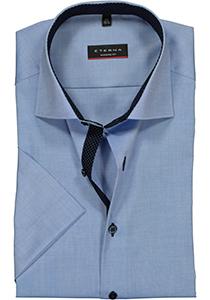 Eterna Modern Fit overhemd, korte mouw, blauw fijn Oxford (contrast)