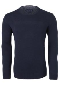 Casa Moda heren trui katoen O-hals, donkerblauw