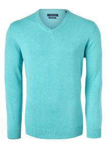 Casa Moda heren trui katoen V-hals, licht turquoise