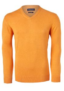 Casa Moda heren trui katoen V-hals, oranje