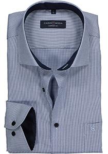 Casa Moda Comfort Fit overhemd, blauw met wit structuur dessin (contrast)