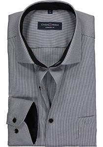 Casa Moda Comfort Fit overhemd, zwart, grijs met wit structuur dessin (contrast)