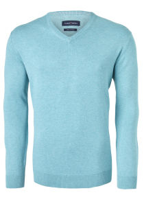 Casa Moda heren trui katoen V-hals, licht turquoise melange