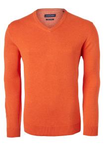 Casa Moda heren trui katoen V-hals, oranje-rood