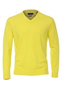Casa Moda heren trui katoen V-hals, geel
