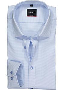 Venti Body Fit overhemd, lichtblauw-wit structuur (contrast)