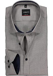 Venti Body Fit overhemd, donkerblauw-beige structuur (contrast)