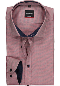 Venti Body Fit overhemd, donkerblauw-rood structuur (contrast)