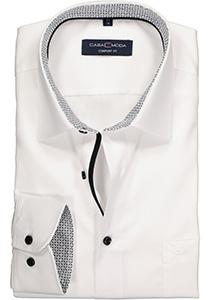 Casa Moda Comfort Fit overhemd, wit (zwart contrast)