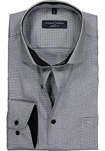 Casa Moda Modern Fit overhemd, zwart-grijs structuur (contrast)